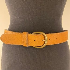 Leather belt genuine stamped antiqued gold buckle